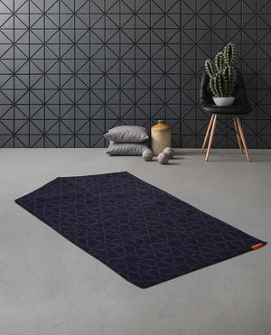 Islamic Prayer Mat Rug in Blue Geometric Denim Arch Shaped-PRAYER MAT-Visual Dhikr-Denim Navy-MeHijabi.com