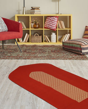 Islamic Prayer Rug in Red with Mashrabiya Arch Shaped-PRAYER MAT-Visual Dhikr-Red-MeHijabi.com
