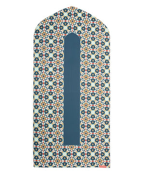 Islamic Prayer Rug Mat in Blue Beige & Red Arch Shaped-PRAYER MAT-Visual Dhikr-Green-MeHijabi.com