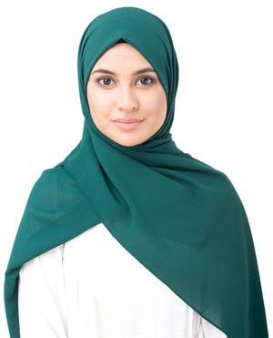 "June Bug Green Georgette Hijab-HIJABS-InEssence-Regular 27""x70""-MeHijabi.com"