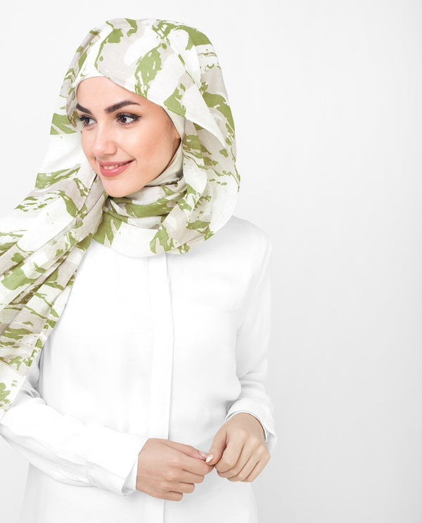 "Olive and White Printed Viscose Hijab-HIJABS-Route 01-Regular 27""x70""-MeHijabi.com"