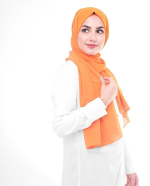 "Orange Pepper Georgette Hijab-HIJABS-InEssence-Regular 27""x70""-MeHijabi.com"