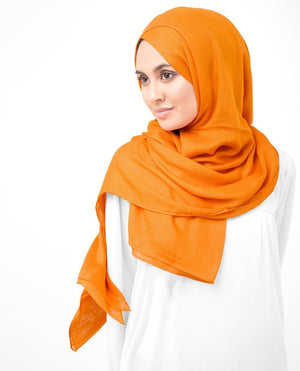 "Orange Pepper Viscose Woven Hijab-HIJABS-InEssence-Regular 27""x70""-MeHijabi.com"