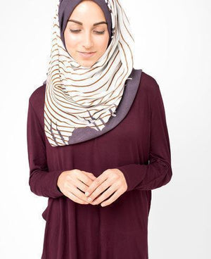 "Peppercorn Grey Hijab-HIJABS-Route 01-Regular 27""x70""-MeHijabi.com"