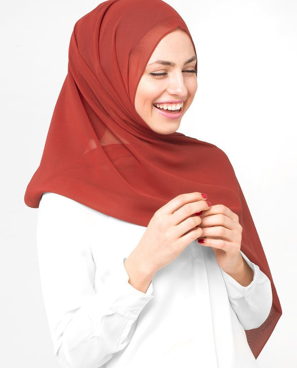 "Red Clay Georgette Hijab-HIJABS-InEssence-Regular 27""x70""-MeHijabi.com"