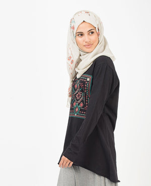 "Silver Off-White Abstract Hijab-HIJABS-Urban Studio-Regular 27""x70""-MeHijabi.com"