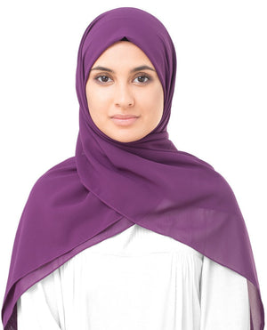 "Sparkling Grape Purple Georgette Hijab-HIJABS-InEssence-Regular 27""x70""-MeHijabi.com"