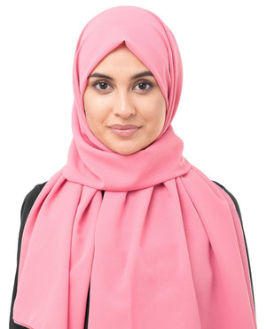 "Strawberry Ice Pink Georgette Hijab-HIJABS-InEssence-Regular 27""x70""-MeHijabi.com"