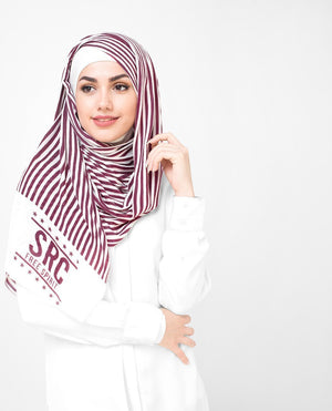 "Red & White Stripes Hijab-HIJABS-Route 01-Regular 27""x70""-MeHijabi.com"
