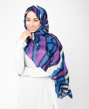 "Retro Flair Purple Blue Hijab-HIJABS-Route 01-Maxi 40""x70""-MeHijabi.com"