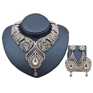LAN PALACE new costume women dubai jewelry set african beads engagement necklace and earrings for party  free shipping
