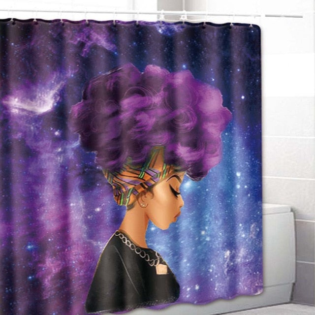 Camouflage African Girl Printed Waterproof Shower Curtain Toilet Lid Cover Bathroom Bath Mat