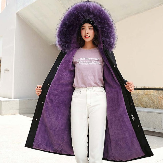 Large fur collar hooded down. Plus sizes included