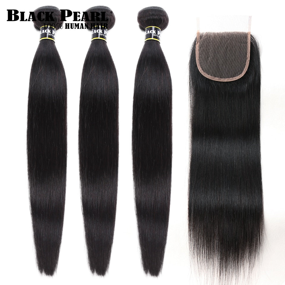 Black Pearl Straight Hair Bundles With Closure (5-7 days)