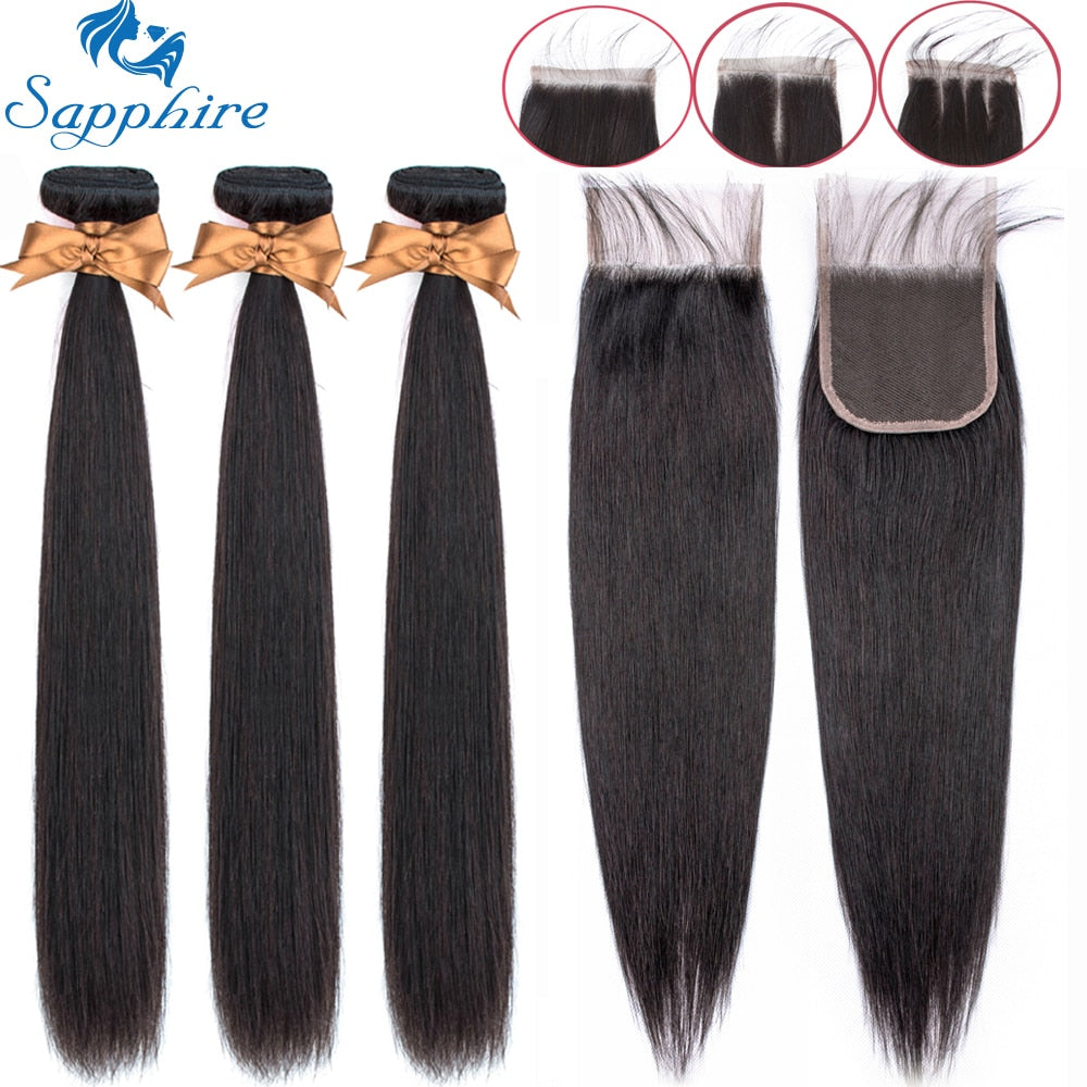 Sapphire Straight Bundles With Closure Brazilian Hair Weave (5-7 days)