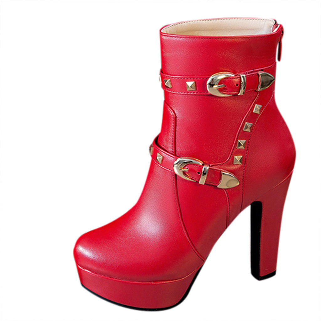 Round Head Thick Heeled Platform Boots