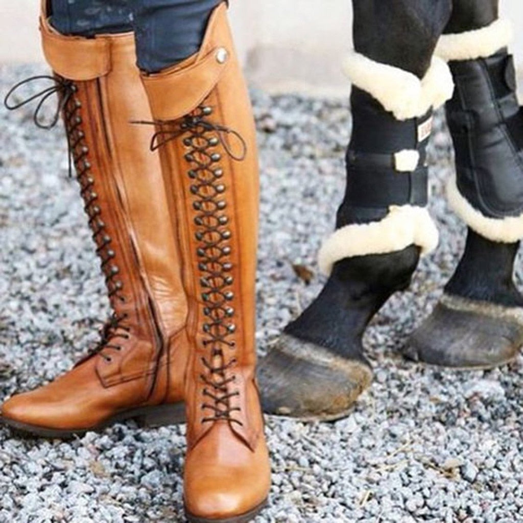 Cowboy Lace-Up Knee High knight Boots