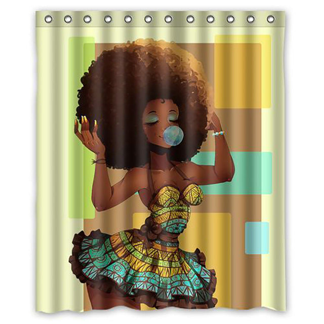African Girl Explosive Head Pattern Shower Curtain