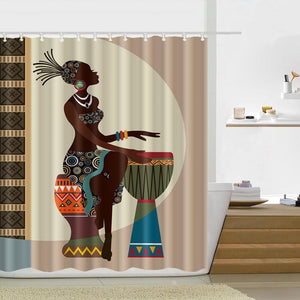 Black Girl African American Shower Curtain Waterproof Bathroom