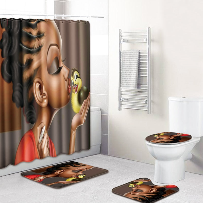 3D African Girls Shower Curtain Bath Mat Toilet Pad Set Non-slip Toilet Bathroom Decor