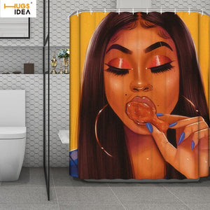 HUGSIDEA Art Black Girl Print Shower Curtain Waterproof