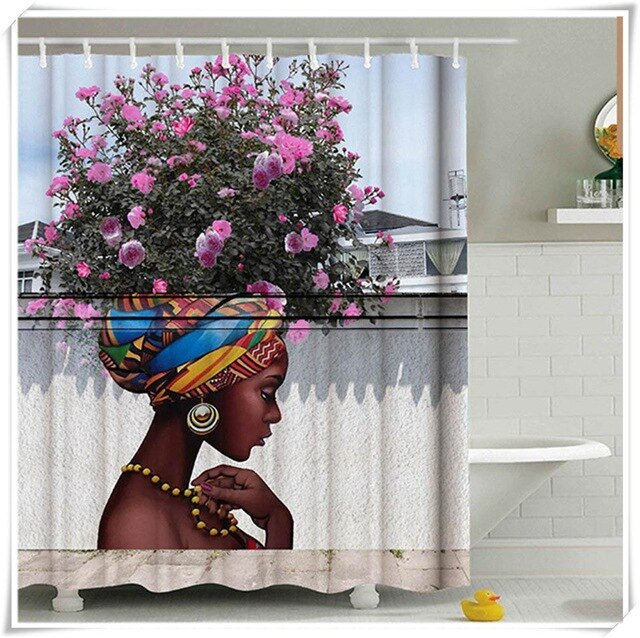 MSJO Shower Curtain 3d African American Flower Waterproof Bathroom Accessories