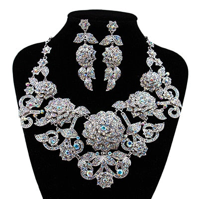 Crystal necklace and earrings
