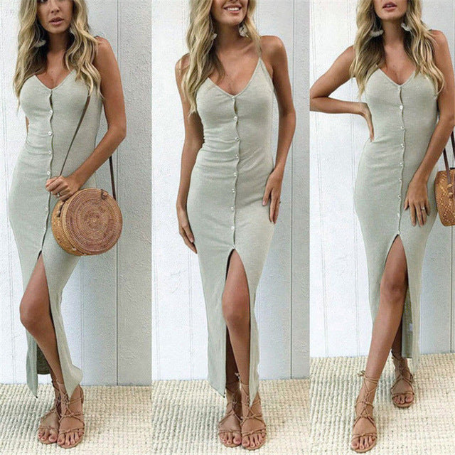 Elegant Knitted Dresses Solid V-Neck (free shipping 30 days)