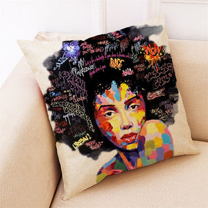 45*45cm Linen Blend Pillowcase African Girl Color Painting Square Pillowcase