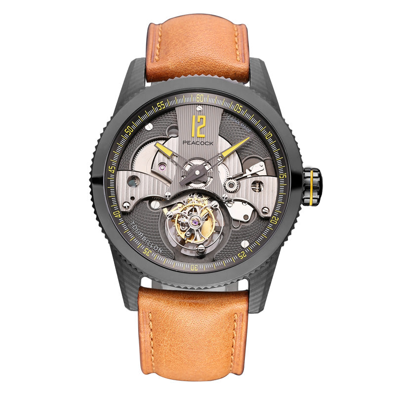 P501-4 Black Leather Strap - HOUJON