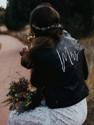 mrs leather jacket - rental wedding jacket - Happily Ever Borrowed
