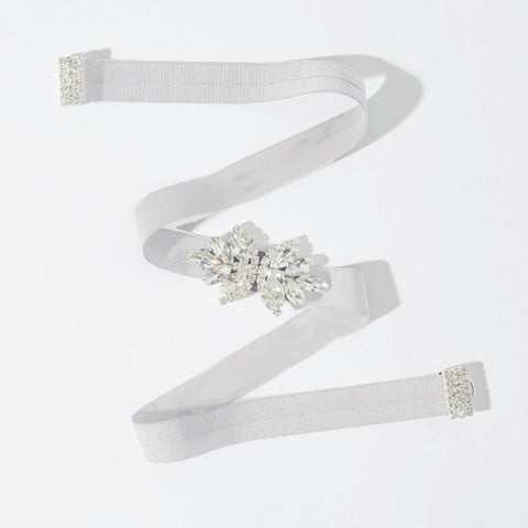Double Leaf Stretch Sash-belts-Elle & Jae-Ivory-4 Day Rental-Happily Ever Borrowed