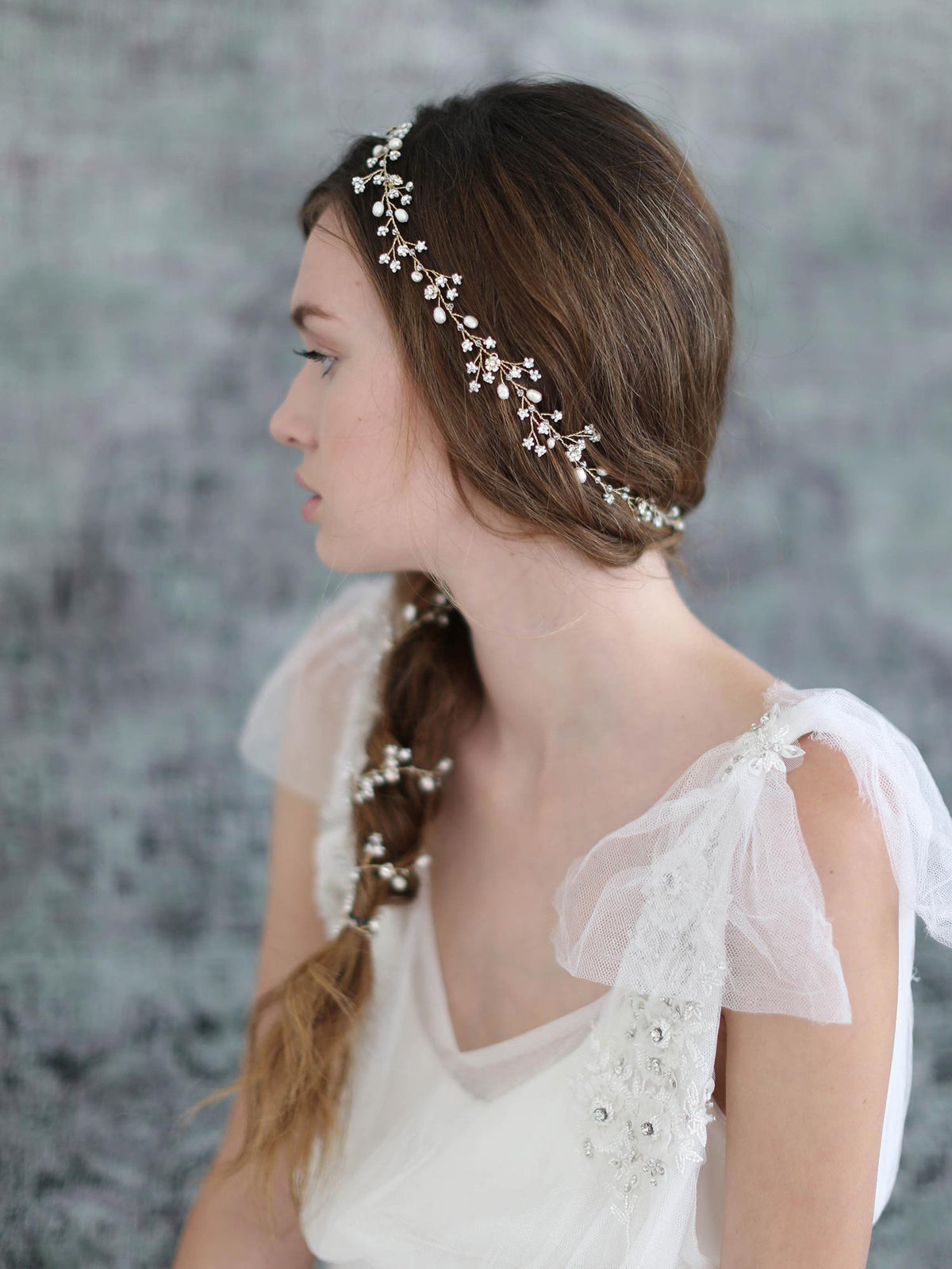 Rent Wedding Headpiece-Extra Long Petite Blossom Hair Vine-Happily Ever Borrowed