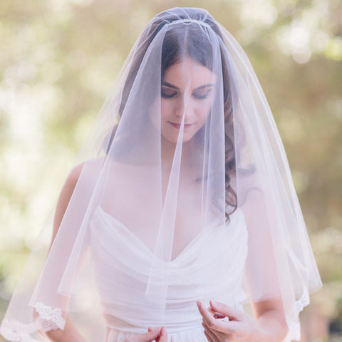 Scallop Lace Blusher Veil-veils-Elle & Jae-Ivory-4 Day Rental-Happily Ever Borrowed