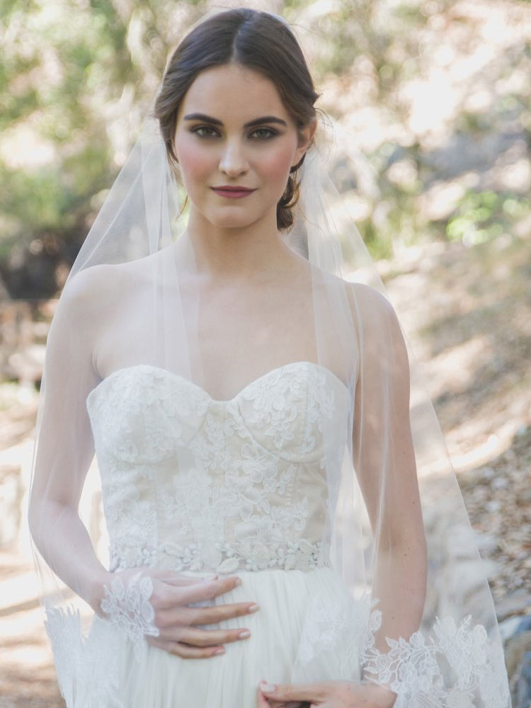 Rent a Wedding Veil-Rose Lace Juliet Veil-Happily Ever Borrowed