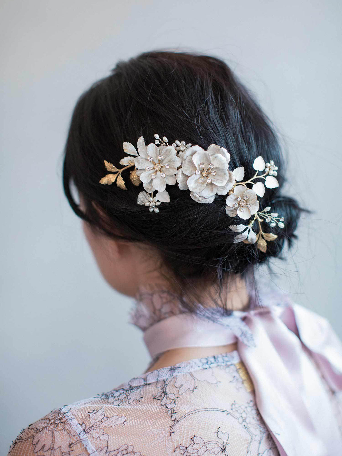Rent Wedding Headpiece-Brushed Enamel Floral Celebration Comb-Happily Ever Borrowed