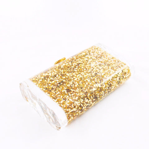 Lara Solid Gold Confetti Clutch Clutches Edie Parker  - Happily Ever Borrowed