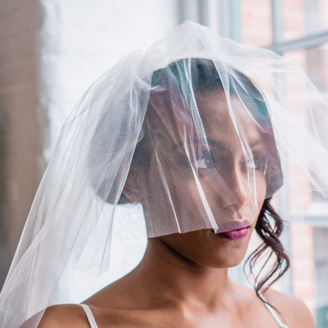 "Double layered Veil-Veils-Justine M. Couture-30""-White-4 Day Rental-Happily Ever Borrowed"