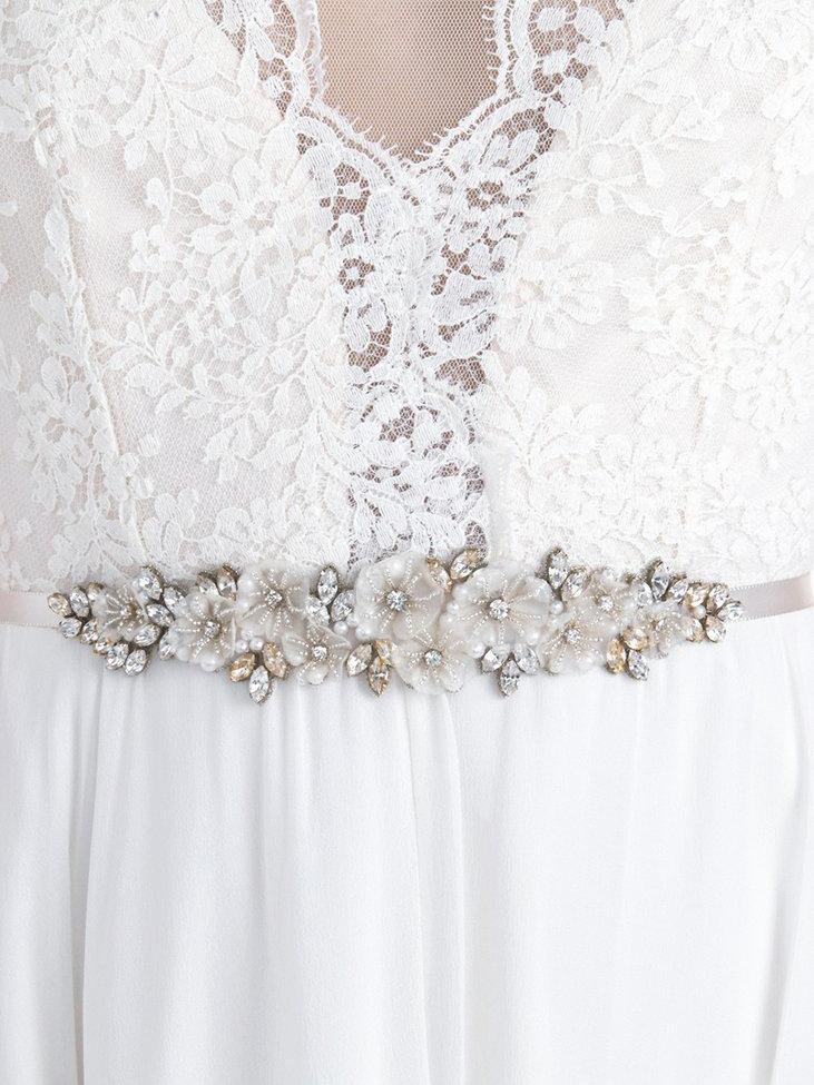 Rent Wedding Dress Sash-Golden Gardenia Sash-Happily Ever Borrowed