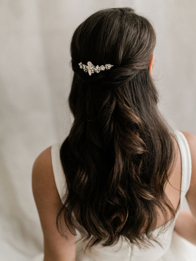 Rent Wedding Headpiece-Cream Crystal & White Opal Comb-Happily Ever Borrowed