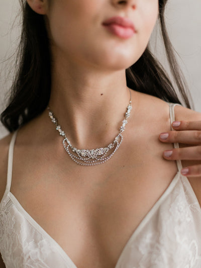 Rent Bridal Jewelry-White Opal Drape Necklace-Happily Ever Borrowed