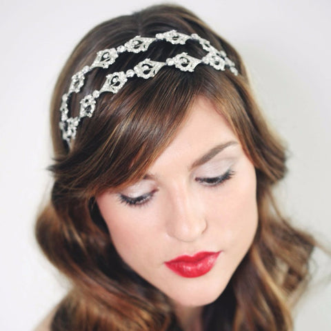 Hayworth Bandeau-headbands-Stephanie Browne-Silver-4 Day Rental-Happily Ever Borrowed