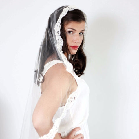 "Justine 45"" Corded Lace Veil Veils Justine M. Couture  - Happily Ever Borrowed"