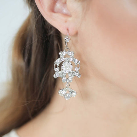 Lady Catherine Earrings-earrings-enchanted atelier-silver-4 Day Rental-Happily Ever Borrowed