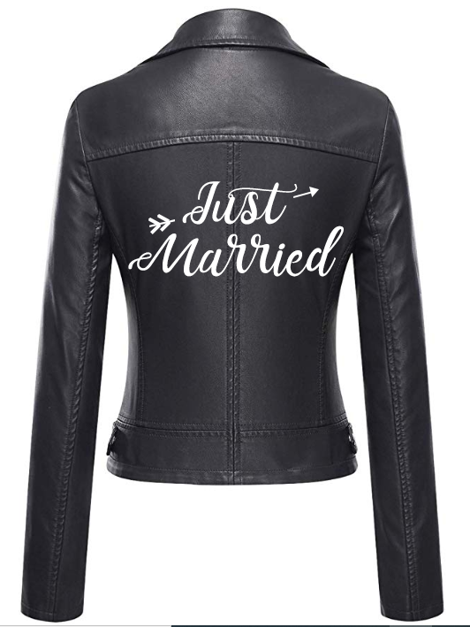 Just Married leather jacket - rental wedding jacket - Happily Ever Borrowed