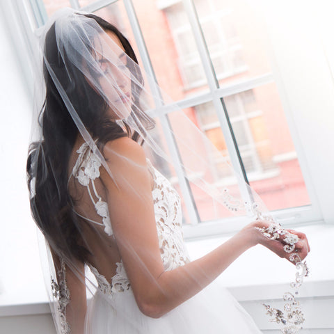 "Moonlight 45"" Veil-Veils-Justine M. Couture-Candlelight-4 Day Rental-Happily Ever Borrowed"