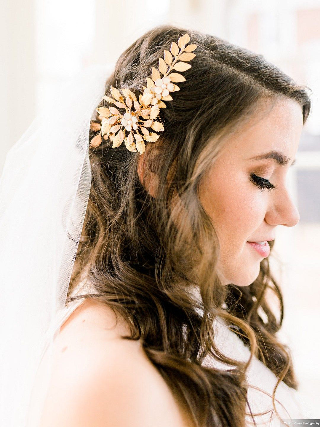 Rent Wedding Hair Accessories-Rose & Yellow Gold Floral Headpiece-Happily Ever Borrowed
