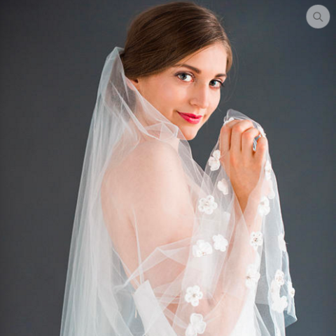 Poppy Veil-Veils-Jaclyn Jordan-Diamond White-4 Day Rental-Happily Ever Borrowed