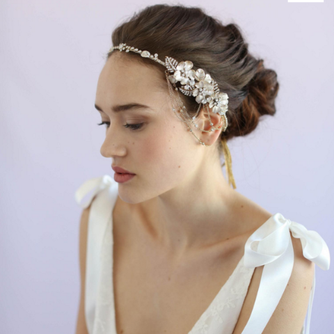 Asymmetrical Floral and Crystal Swag Headpiece-headbands-Twigs & Honey-Happily Ever Borrowed