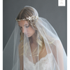 Asymmetrical Floral and Crystal Swag Headpiece-headbands-Twigs & Honey-Gold-4 Day Rental-Happily Ever Borrowed